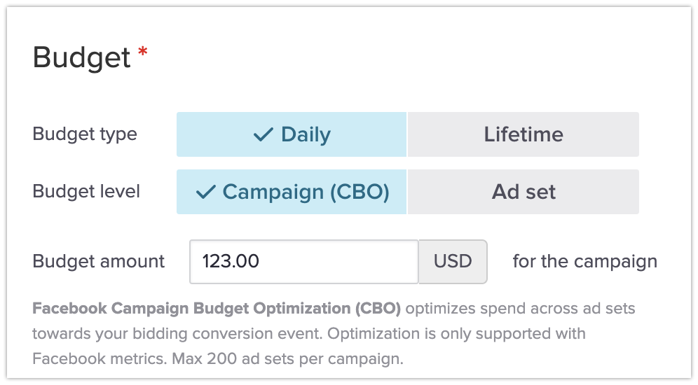 Enabling Facebook CBO in campaign budget settings