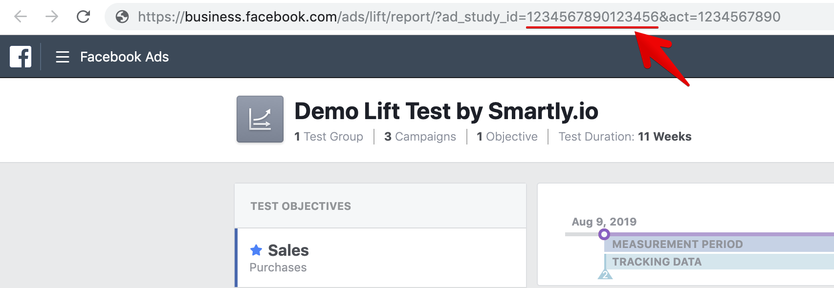 What Facebook ad testing looks like on Business Manager - and how to find the Ad Study ID from the URL